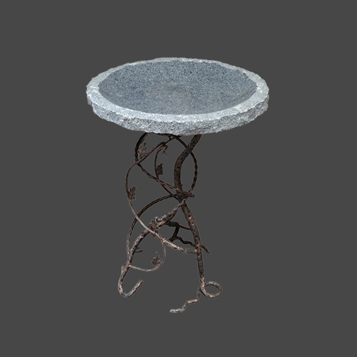 Granite Bird Bath With Iron Base
