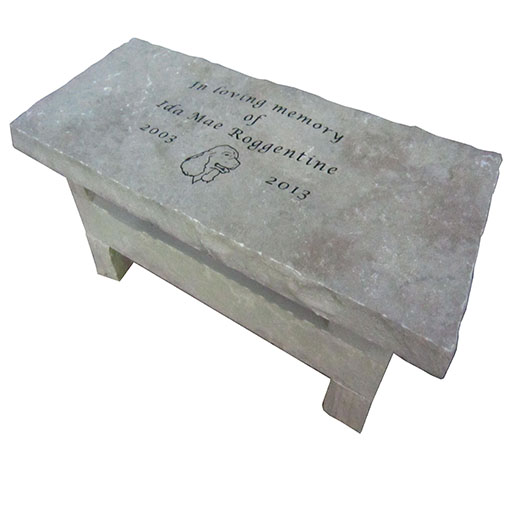Engraved Bench With Dog