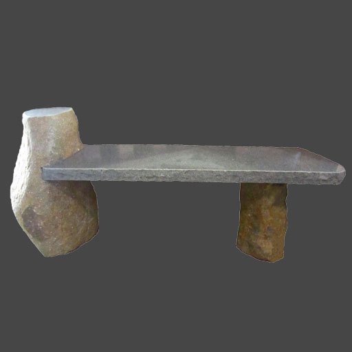 Granite Boulder Bench with Side leg